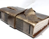 Handmade Blank Book or Sketchbook for the Writer or Artist - Gunmetal Metallic Leather