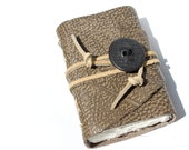 Handmade Journal - Wee Chunky Book - Black and Tan Leather with Handcrafted Skull Button