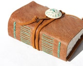 Leather Journal - Wee Chunky Book - Sand and Sea Foam