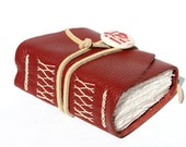 Handmade Leather Journal - Wee Chunky Book - Brick Red Love