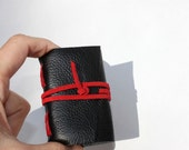 Wee Mini Notebook - Handmade - Black Leather - Stocking Stuffer