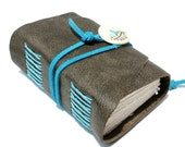 Wee Chunky Book - Handmade - Charcoal Leather with Handcrafted Porcelain Button