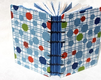 Handbound Journal or Notebook - Handmade Japanese Paper - Blue Green Red Circles