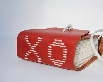 XO - Unique Handmade Leather Notebook Leather Journal Blank Book by Wee Bindery