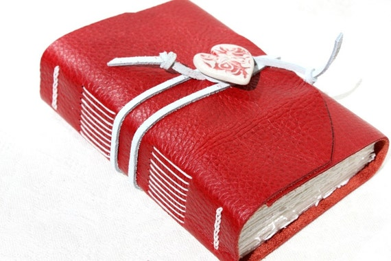 Love Again - Handmade Blank Book for the Writer or Artist - Red Leather