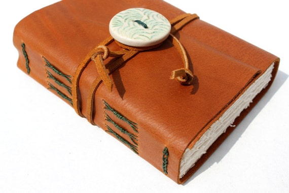 Rustic Leather Journal or Sketchbook - Handmade - Unique Handcrafted Porcelain Button