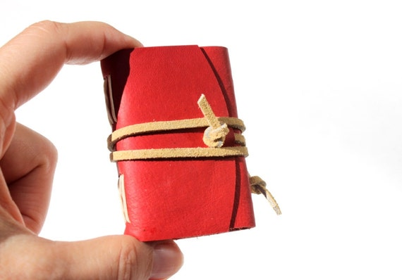 Wee Mini Notebook - Leather - Ruby Red
