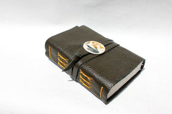 Blank Book with Handmade Porcelain Adornment - Olive Leather