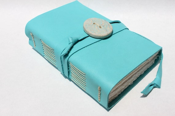 Leather Journal or Sketchbook with Handmade Porcelain Button -  Ocean Blue