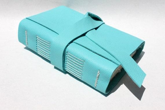Leather Journal or Notebook - Handmade - Ocean Blue
