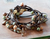 Lariat Necklace, Long Knotted Necklace, Earthtone, Crystals, Bohemian, Pearls,Shell, Nature Inspired Jewelry - Earthtones
