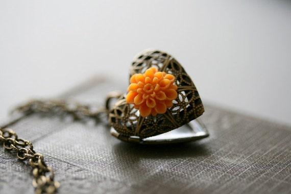 Locket Necklace, Gold Locket Necklace, Heart Locket, Filigree, Bridesmaid, Orange , Flower Locket Heart, Wedding - Sun Kissed Honey