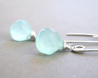 Seafoam Gemstone Earrings, Chalcedony Teardrops, Sterling Silver Wire Wrapped, Handmade Jewelry, Breezy Beach