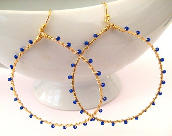 Hoop Earrings in Gold and Blue Glass Seed Beads Handmade, Complimentary Shipping