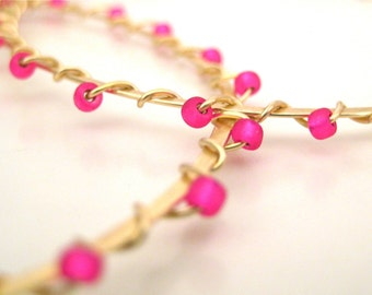 Gold Hoop Earrings, Wire Wrapped, Seed Beads, Hot Pink, Handmade Jewelry, Hot Pink Magnifique