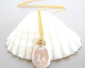 Pearl Necklace, Freshwater Pearl, Teardrop Gemstone, 14k Gold, Wire Wrapped, Beach Jewelry, Organic Jewels, Handmade Jewelry