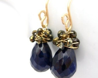 Wire Wrapped Sapphire Earrings, 14k Gold Fill, Golden Pyrite, Blue Teardrops, Gemstone Cluster, Handmade Jewelry
