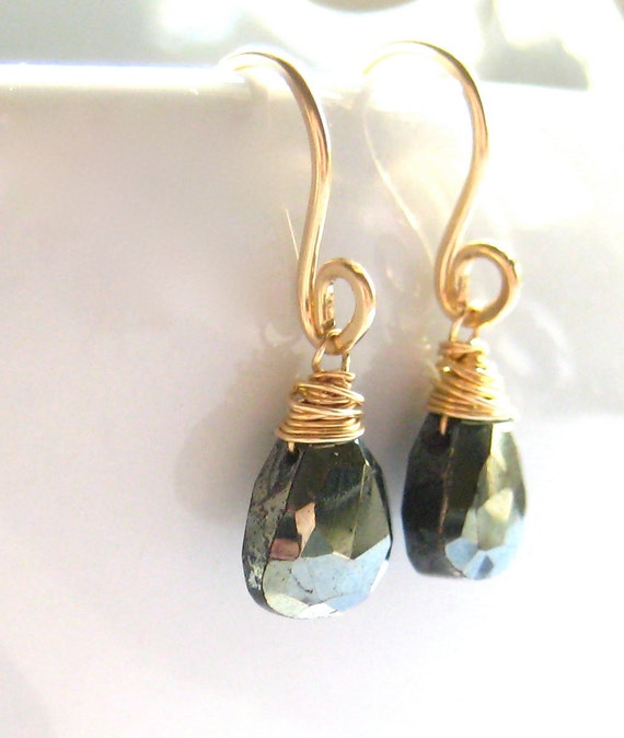 Hematite Earrings, Mirrored Gemstones, 14k Gold Wire Wrapped, Handmade Jewelry, Mirror Mirror