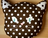 Kitty Pillow in Cocoa Dot