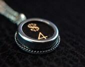 Vintage Typewriter Key Pendant Necklace Charm - Black Silver Rim Glass Top - Number 4 and Dollar Sign -  GDJ