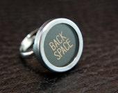 Vintage Typewriter Key Adjustable Ring - Silver Rim Black Glass BACK SPACE Key