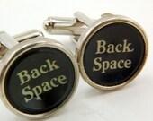 Vintage Typewriter Key Cuff Links -  BACK SPACE GDJ Fashion Jewelry