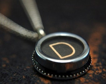 Vintage Typewriter Key Pendant Necklace Charm - Letter D - Other Letters Available GDJ