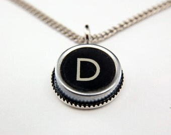 LETTER D - Vintage Typewriter Key Pendant Necklace Charm - Black Silver Rim - Other Letters Available GDJ