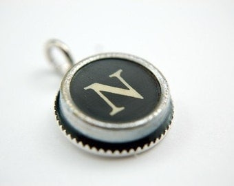 Two for One Sale....Initial Letter N Vintage Typewriter Key Pendant Necklace Charm - on Silver Chain - Other Letters Available GDJ