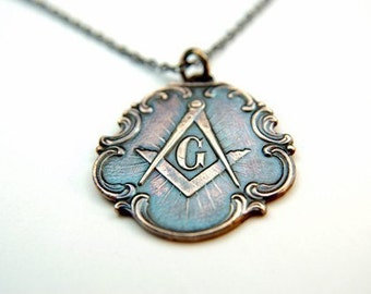 Ornate Bronze Free Mason  - Square and Compasses Pendant - by Gwen DELICIOUS Jewelry Design