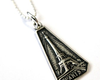 Two for One Sale....Sterling Silver Paris Necklace - French Effiel Tower Charm Necklace GDJ