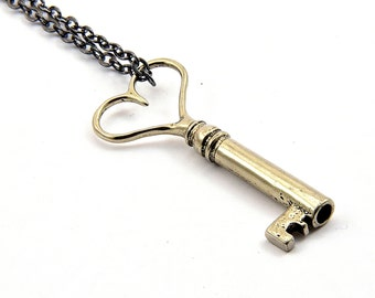 Silver Heart Skeleton Key Necklace Heart Key Pendant Necklace