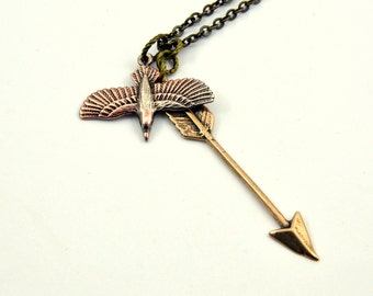 Two for One Sale....Raven and Arrow Necklace - Raven Necklace Pendant
