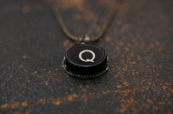 Vintage Typewriter Key Pendant Necklace Charm - Letter Q - Other Letters Available GDJ Fashion Jewelry