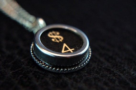 Vintage Typewriter Key Pendant Necklace Charm - Black Silver Rim Glass Top - Number 4 and Dollar Sign -  GDJ