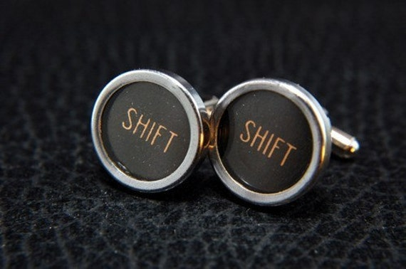 Vintage Typewriter Key Cuff Links - Silver Rim Glass Top -  SHIFT - Perfect for Father's Day