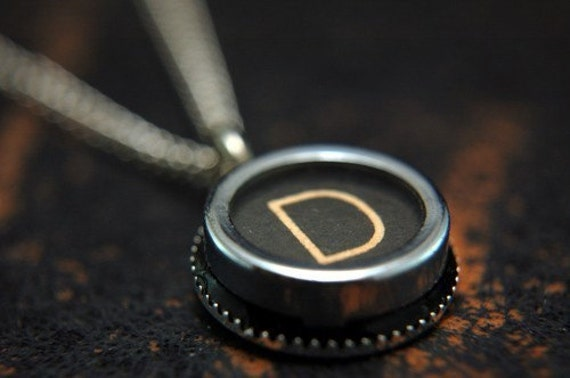 Two for One Sale....Vintage Typewriter Key Pendant Necklace Charm - Letter D - Other Letters Available GDJ