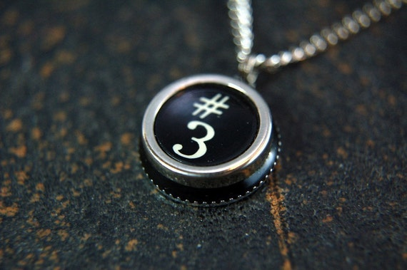 Vintage Typewriter Key Pendant Necklace Charm - Silver Rim Number 3 and Pound Symbol - Other Letter and Numbers Available GDJ