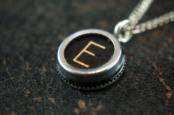 letter e necklace vintage typewriter key pendant necklace charm black silver rim glass top