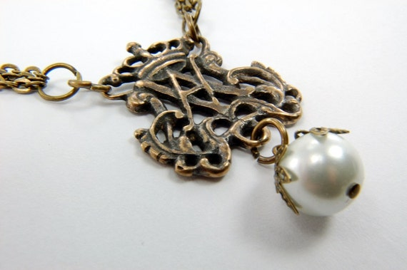 Bronze Ave Maria Crown Rosary Style Necklace - Steam Punk - by Gwen DELICIOUS Jewelry Design