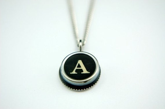 Initial  Letter A Vintage Typewriter Key Pendant Necklace Charm - Silver Rim Other Letters Available GDJ Fashion Jewelry