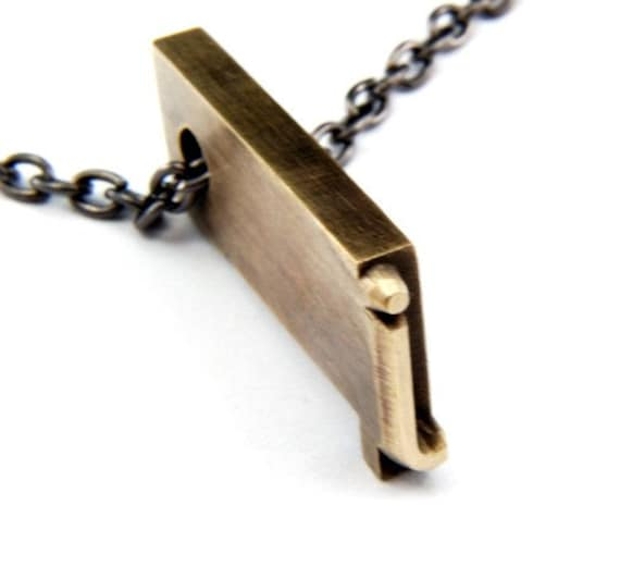 Letter J  Letterpress Necklace - Brass Initial Personalized - Other Letters Available