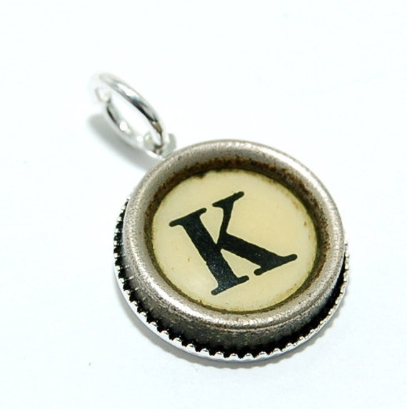 Initial Letter K -  Vintage Typewriter Key Pendant Necklace Charm - on Silver Chain - Other Letters Available