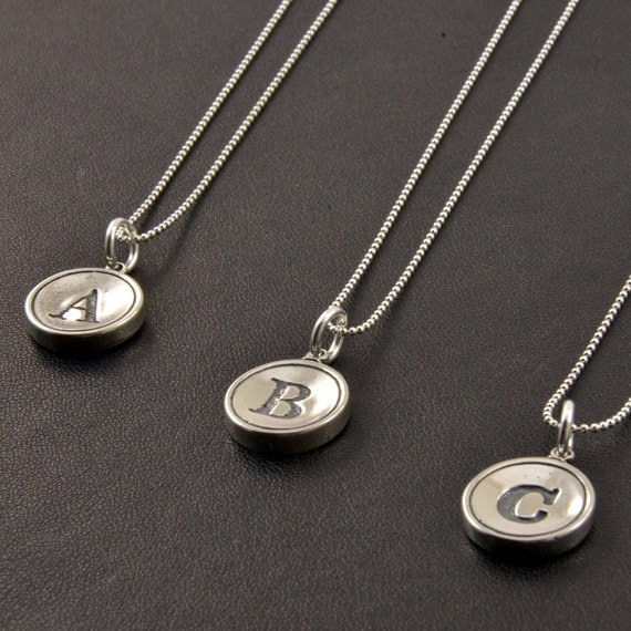 Silver Typewriter Key Necklace  - Personalized Initial Necklace Solid Sterling Silver - Other Letters Available