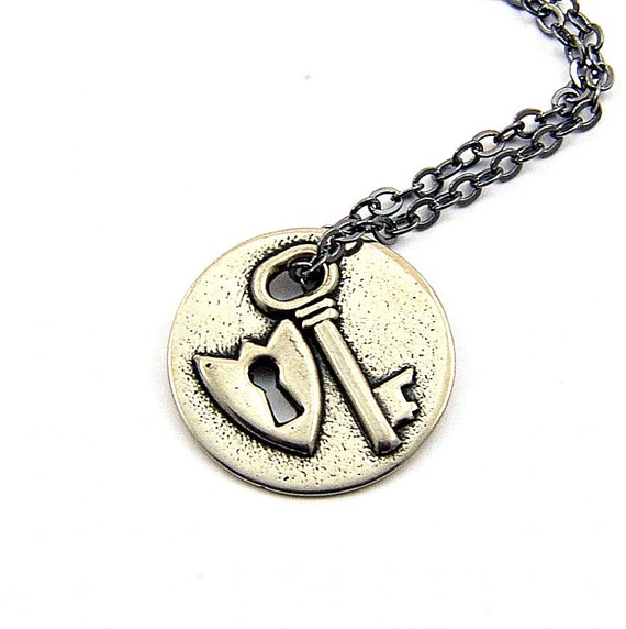 Two for One Sale....Silver Lock and Key Necklace GDJ