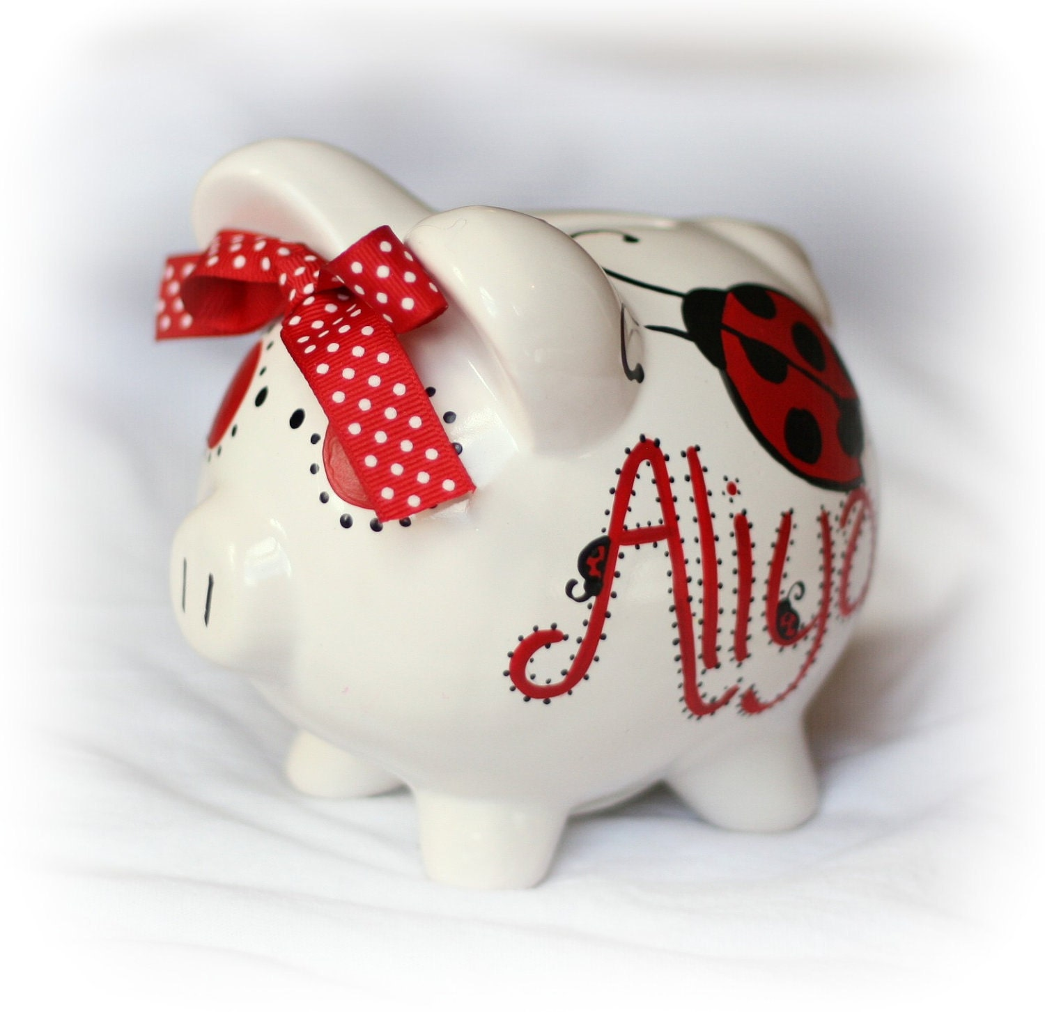 hand painted personalized piggy bank ladybug dragonfly - 🔎zoom