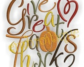 Give Great Thanks Fall Thanksgiving Block -Instant Download -Digital Machine Embroidery Design
