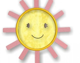 Springtime Birds and Trees - Smiling Happy Sunshine Applique - Spring Summer Cute Sun -Instant Download Digital Files for Machine Embroidery