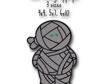 Cute Mummy Halloween Applique - Instant Download -Digital Machine Embroidery Design