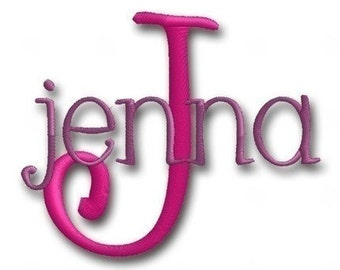 Jenna Machine Embroidery Monogram Alphabet Font- Instant Email Delivery Download Machine embroidery design